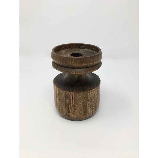 Mid-Century Modern Artisan Made Wood Candle Holder For Sale - Image 4 of 10