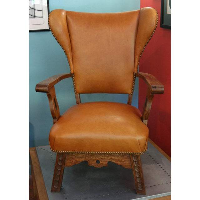 Mid-Century Modern Unusual Exposed Wood Wing Chair With Carved Detail and Leather Upholstery For Sale - Image 3 of 6