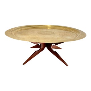 Vintage Mid Century Moroccan Brass + Wood Spider Leg Coffee Table For Sale