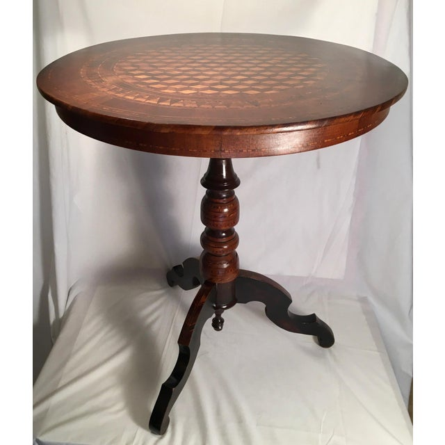 19th Century Italian Marquetry Pedestal Center Table For Sale - Image 13 of 13