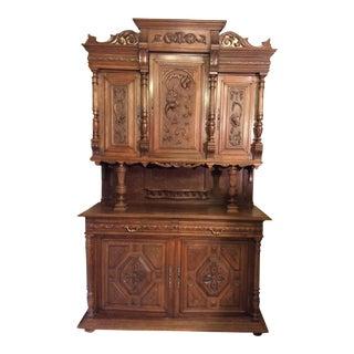 French Henri II Style Intricatly Carved Walnut Hutch