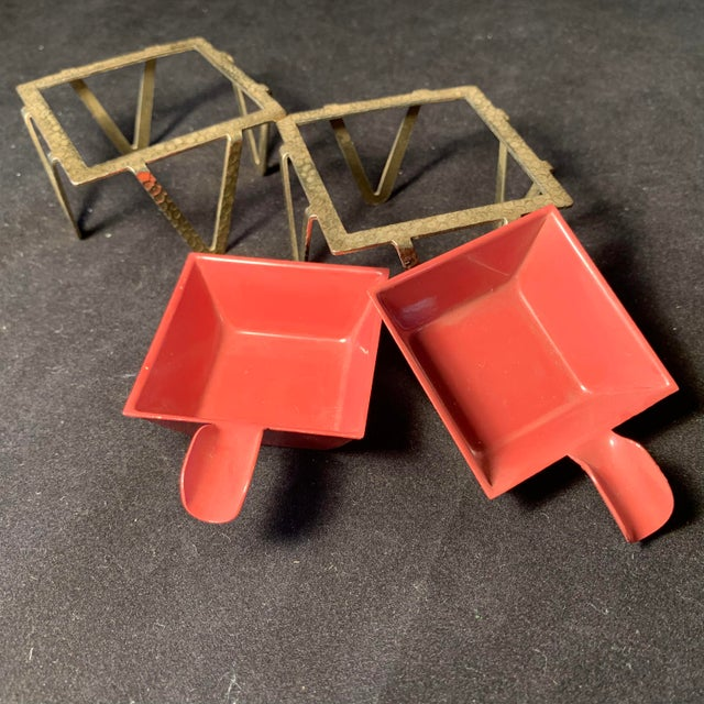 Art Deco Mid-Century Enamel & Brass Ashtrays - a Pair For Sale - Image 3 of 6