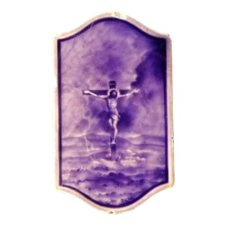 Dramatic Purple 19th Century Plaque of Jesus
