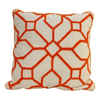 1990s Orange Chenille Patterned Pillow For Sale