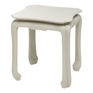 KRB New York Collection Chinoiserie Table in Pale Grey For Sale