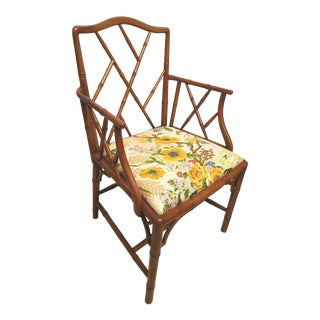 Vintage Hollywood Regency Chinese Chippendale Maple Faux Bamboo Armchair For Sale