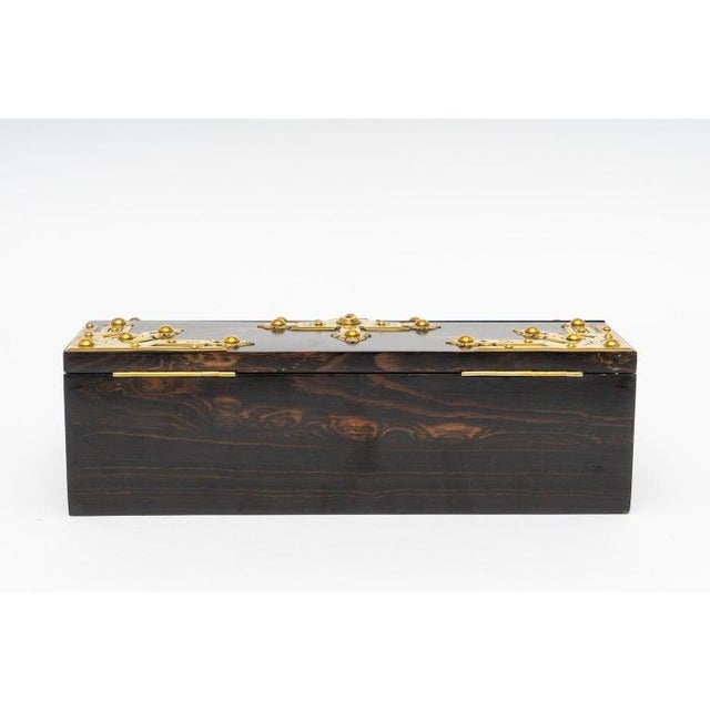 Late 19th Century 1880s Edwardian Brass & Wood Traveling Lap Desk with Original Key For Sale - Image 5 of 13