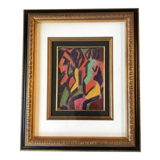 Original Vintage Cubist Female Nude Colored Pencil Drawing Framed For Sale