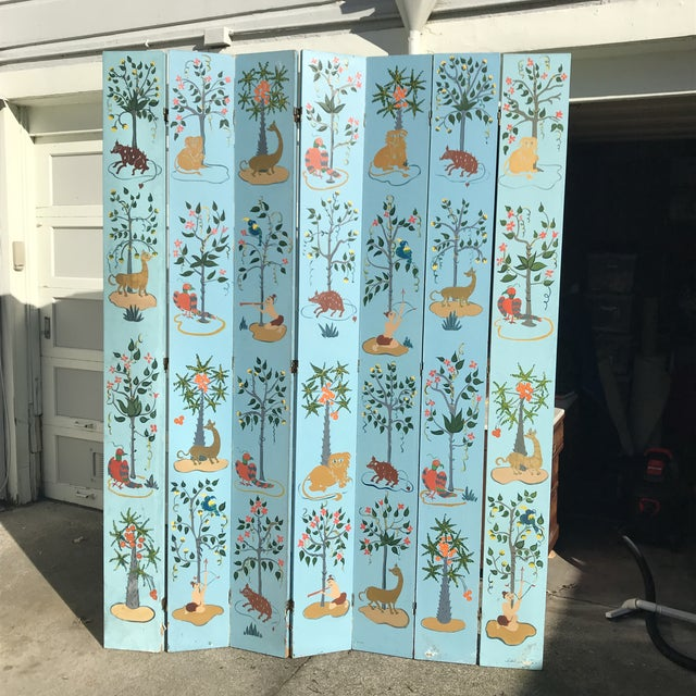 1960s Tall Hand Painted Indochine Wood Screen For Sale - Image 9 of 11