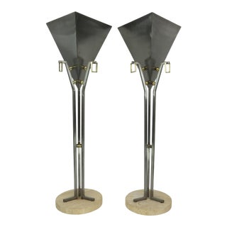 1960s Art Deco Style Brass, Travertine, and Steel Planters - a Pair For Sale
