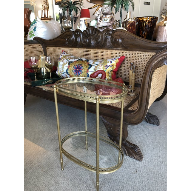 French Brass Two Tiers Petite Gallery Table After Maison Jansen C.1970 For Sale - Image 9 of 10