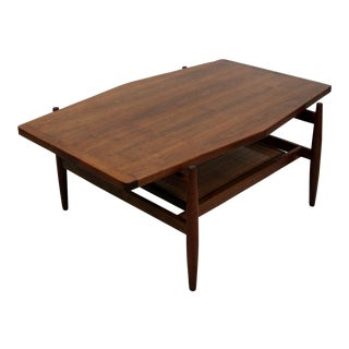Mid Century Walnut and Cane Coffee Table by Jens Risom For Sale
