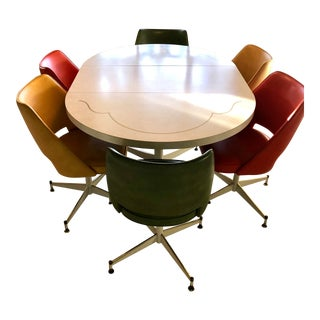 Mid-Century Modern Kitchen Table & 6 Swivel Chairs For Sale
