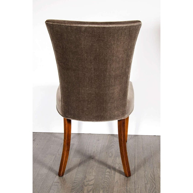 1930s Fine Art Deco Occasional or Desk Chair in Mahogany and Tobacco Brown Mohair For Sale - Image 5 of 6