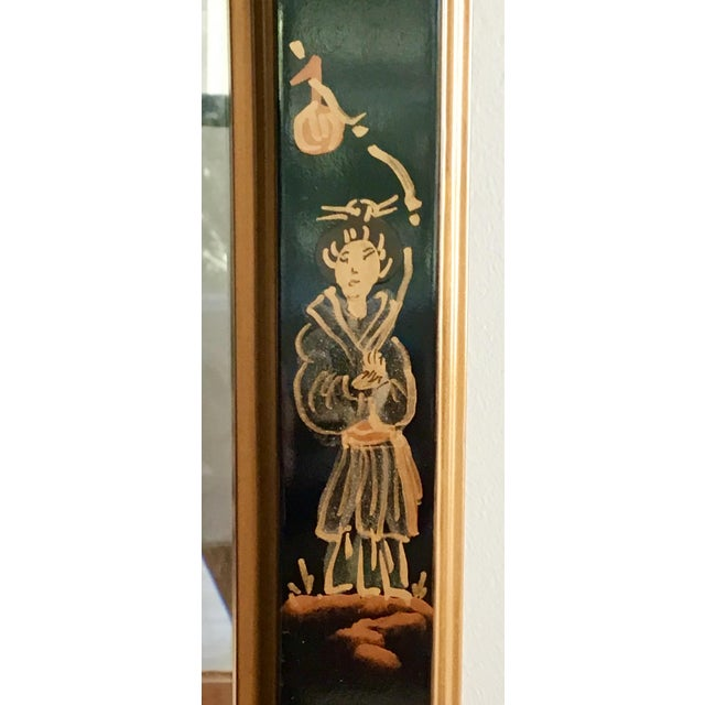 La Barge 1980s La Barge Style Queen Anne Hand Painted Black Lacquer Mirror For Sale - Image 4 of 7