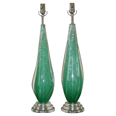 Vintage Murano Pulegoso Glass Table Lamps Green For Sale
