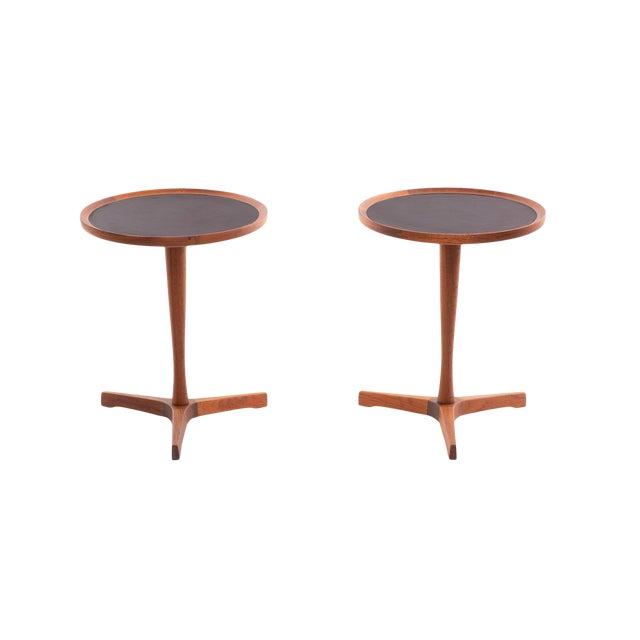 1960s Danish Teak Hans Andersen Pedestal Tables - a Pair For Sale