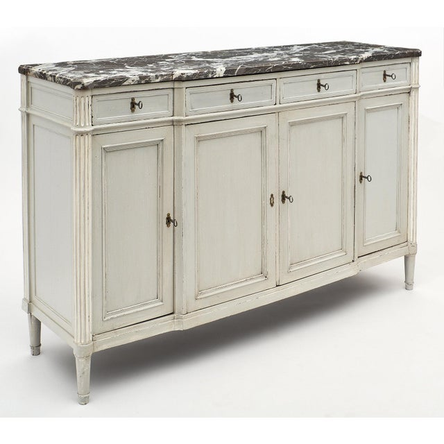Louis XVI Painted Louis XVI Style Buffet With Marble Top For Sale - Image 3 of 11