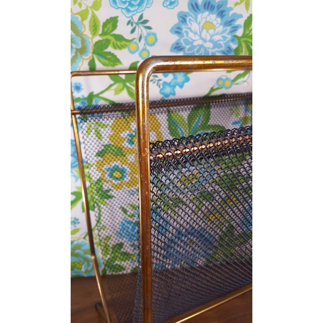 Mid 20th Century Mid-Century Modernist Mesh Log Holder or Magazine Rack For Sale - Image 5 of 8
