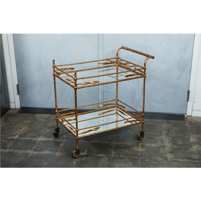 1950s Hollywood Regency Faux Bamboo Bar Cart For Sale In Los Angeles - Image 6 of 9