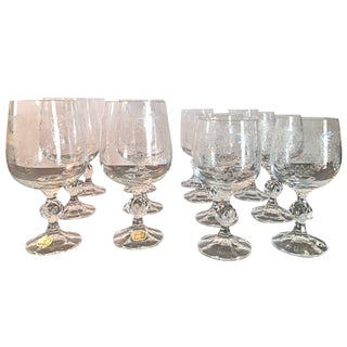Vintage Bohemia Crystal Claudia Cascade Wine Glasses - Set of 14
