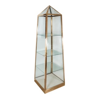 1960s Pyramidal Brass and Glass Three Shelf Cabinet For Sale