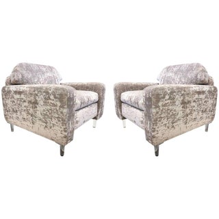 Pair of Flavor Custom Design Lounge Chairs in Velvet with Lucite Legs For Sale