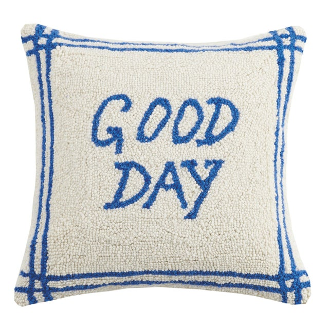 """Contemporary Good Day Hook Pillow, 16"""" x 16"""" For Sale - Image 3 of 3"""