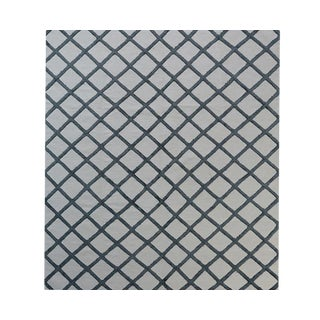 Contemporary Handwoven Charcoal and Ivory Wool Rug - 8x10 -- 423 For Sale