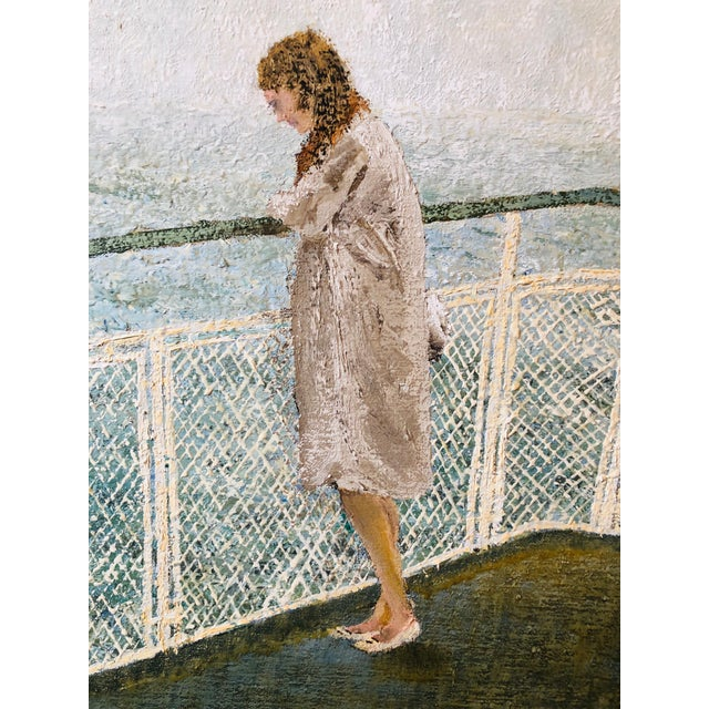 """Mid-Century Modern 1970s """"Ferry Commuter"""" A. Jones Painting For Sale - Image 3 of 7"""
