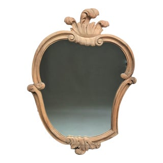 1960's Modern Baroque Poplar Framed Cartouche Shaped Mirror For Sale