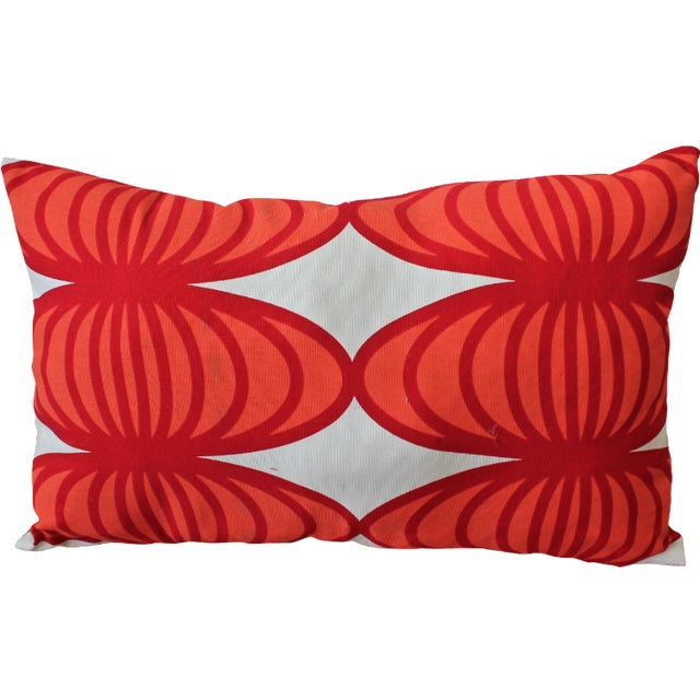 Red and White Patterned Pillow - Image 1 of 3