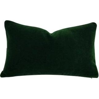 Dark Emerald Green Mohair Velvet Lumbar Pillow For Sale