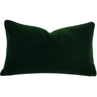 Pierre Frey Bold Mohair Velvet in Forest - Dark Emerald Green Mohair Velvet Lumbar Pillow For Sale