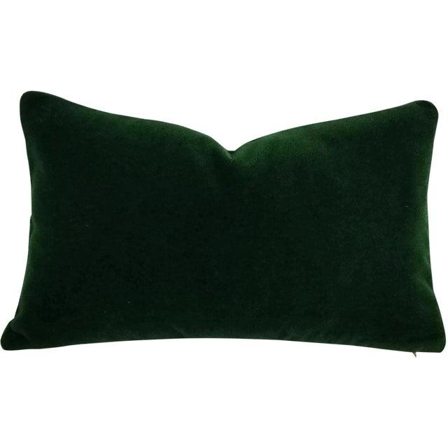 Pierre Frey Bold Mohair Velvet in Forest - Dark Emerald Green Mohair Velvet Lumbar Pillow For Sale