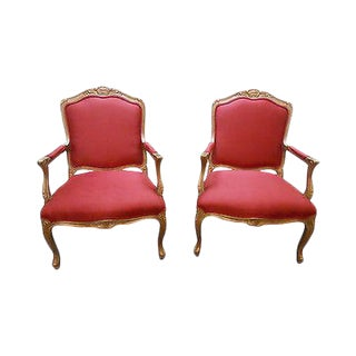 Lexington Pair of French Louis XV Style Open Arm Fauteuil Living Room Chairs For Sale