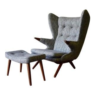 Papa Bear Styled Mid Century Modern Teak Lounge Chair + Ottoman For Sale