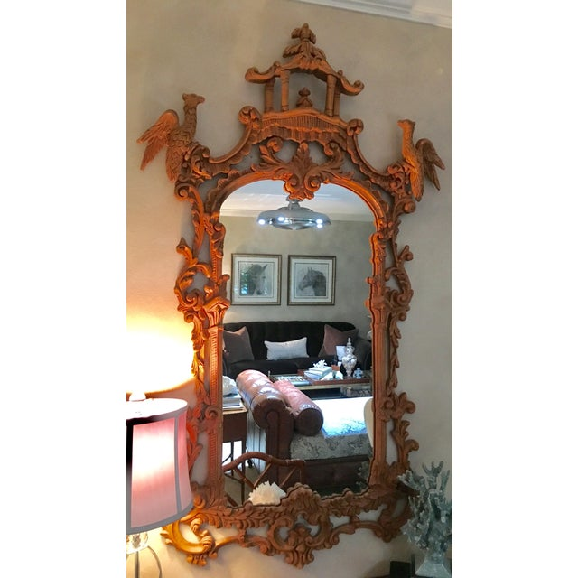 Stunning beautiful Chinese Chippendale style carved mirror featuring a pagoda crest flanked by two hoho birds. Hand carved...