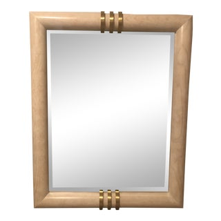 1980s Henredon Brass and White Wood Mirror For Sale