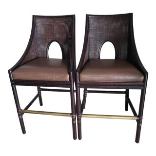Barbara Barry for McGuire Premium Leather Seat Barstools - a Pair For Sale