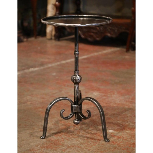 Metal Early 20th Century French Polished Iron Martini Pedestal Table For Sale - Image 7 of 10