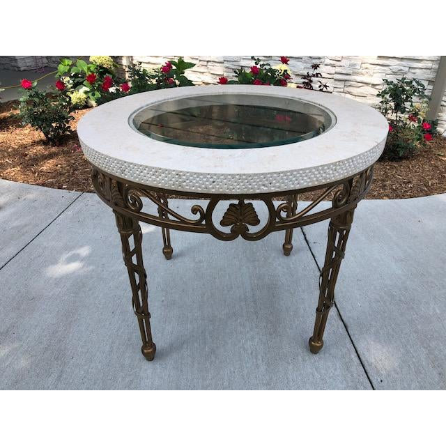 White Traditional Drexel Heritage Marble, Metal, and Glass Lamp Table For Sale - Image 8 of 8