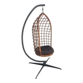 Vintage Mid-Century Swinging 'Emmanuelle' Basket Chair With Stand For Sale