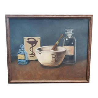 1973 Pharmaceutical Themed Oil Painting by Genevieve Liljeberg For Sale