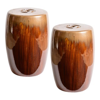 Chinese Brown Glazed Terra Cotta Garden Stools - a Pair For Sale
