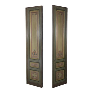 Pair of French Painted Paneling Doors For Sale