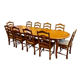 Guy Chaddock French Country Table and 8-10 Country English Ladderback Chairs For Sale
