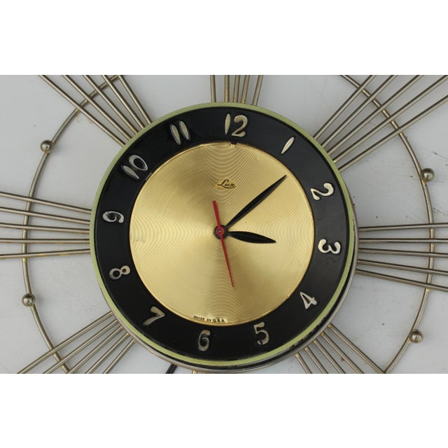 Mid-Century Modern Lux Starburst Wall Clock For Sale - Image 3 of 7