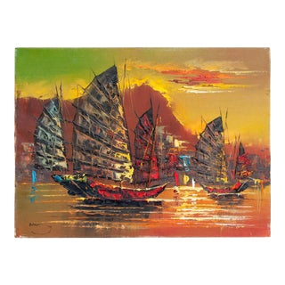 Mid-Century Oil on Canvas Ship Painting For Sale