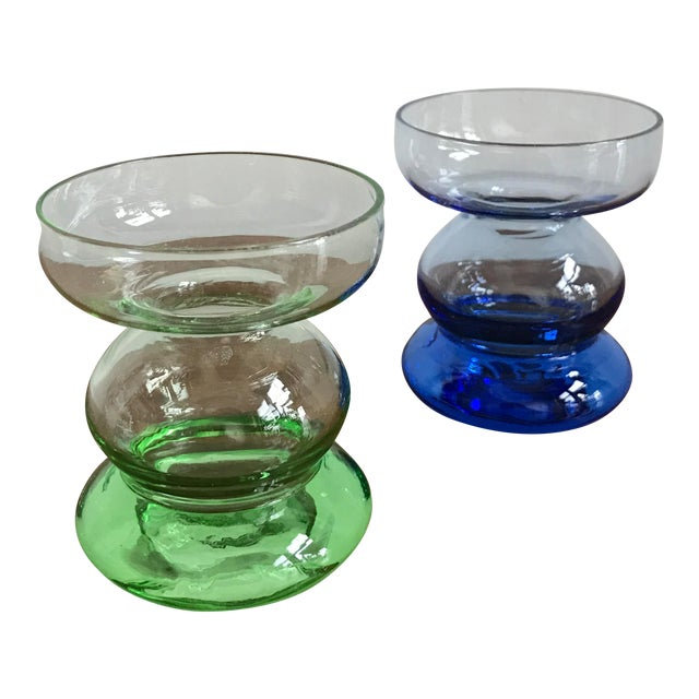 Mid Century Glass Candle Stick Holders - a Pair - Image 1 of 7